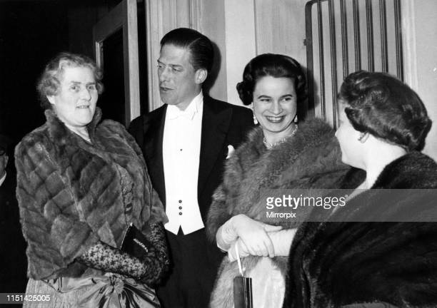 George Henry Hubert Lascelles, 7th Earl of Harewood, & Countess of Harewood arrive at the recording of the Hallé Centenary Concert 1958 at the Free...