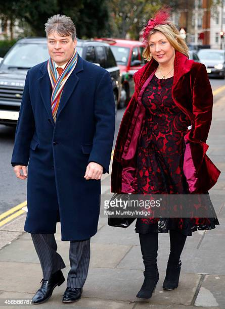 George Herbert Earl of Carnarvon and Fiona Countess of Carnarvon attend the wedding of Jake Warren and Zoe Stewart in the Wren Chapel at the Royal...