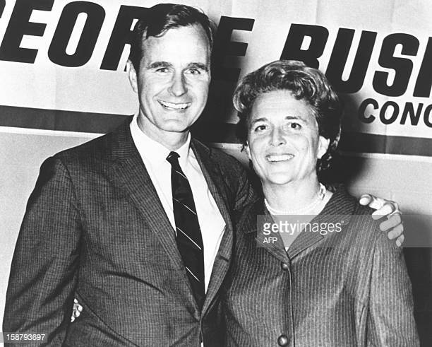 George Herbert Walker Bush poses with his wife Barbara during his campaign for Congress in the 1960's Born 12 June 1924 in Milton Massachussetts...