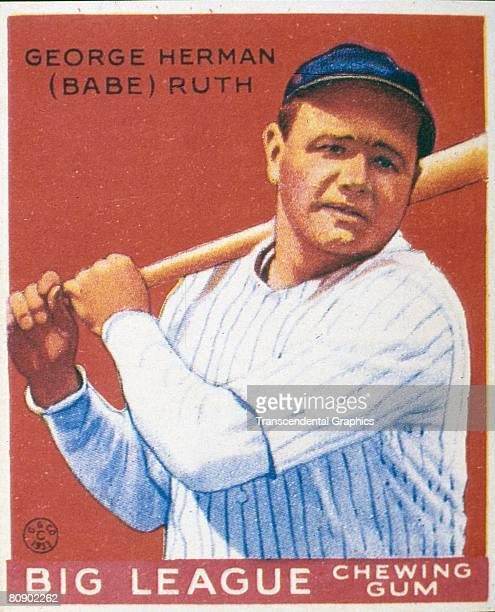 George Herman 'Babe' Ruth Swings 1933Color lithograph portrait of George Heramn 'Babe' Ruth swinging a bat The image is from a trading card published...