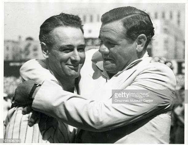 George Herman Ruth hugs former teammate Lou Gehrig 1939