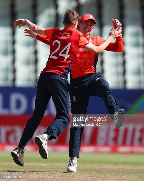 George Hill of England congratulates Jack Haynes of England on running out Sonal Dinusha Gamage of Sri Lanka during the ICC U19 Cricket World Cup...