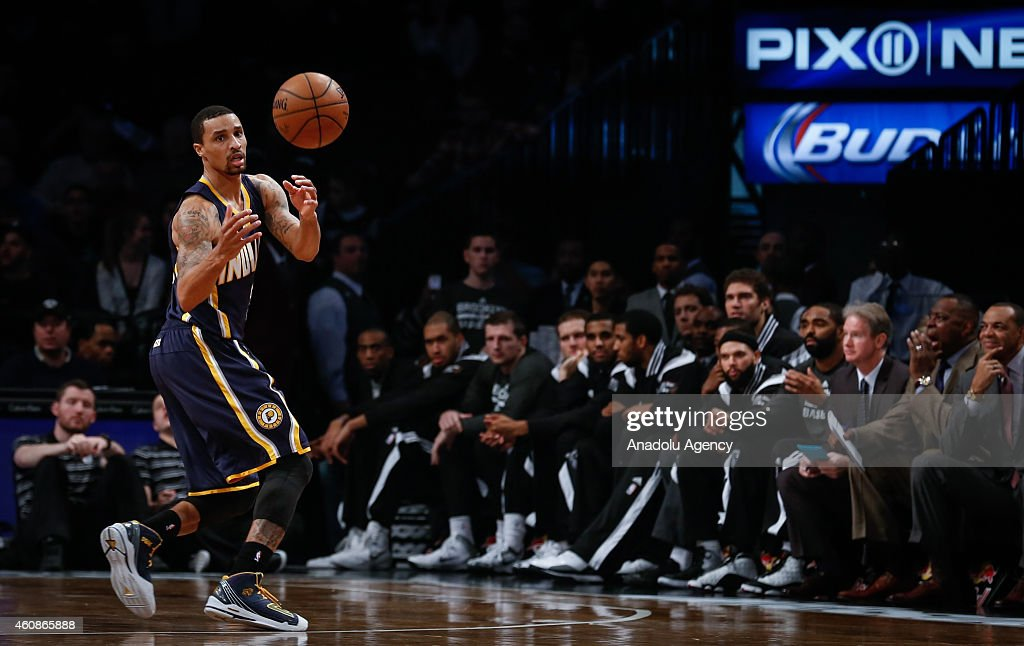 George Hill of Indiana Pacers during an NBA game against Brooklyn Nets on December 27, 2014 at Barclays Center in Brooklyn, New York.