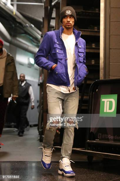 George Hill of the Cleveland Cavaliers arrives before the game against the Boston Celtics on February 11 2018 at TD Garden in Boston Massachusetts...