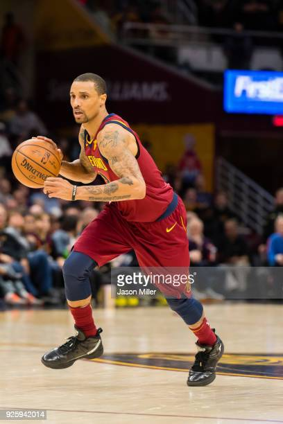 George Hill of the Cleveland Cavaliers drives to the basket against the Brooklyn Nets during the first half at Quicken Loans Arena on February 27...