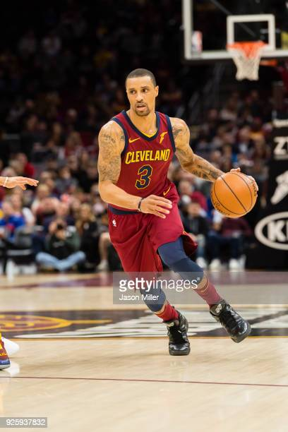 George Hill of the Cleveland Cavaliers drives to the basket during the first half against the Brooklyn Nets at Quicken Loans Arena on February 27...
