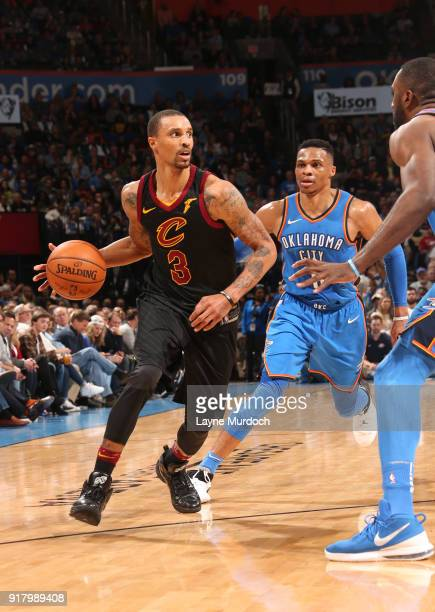 George Hill of the Cleveland Cavaliers handles the ball against Russell Westbrook of the Oklahoma City Thunder on February 13 2018 at Chesapeake...
