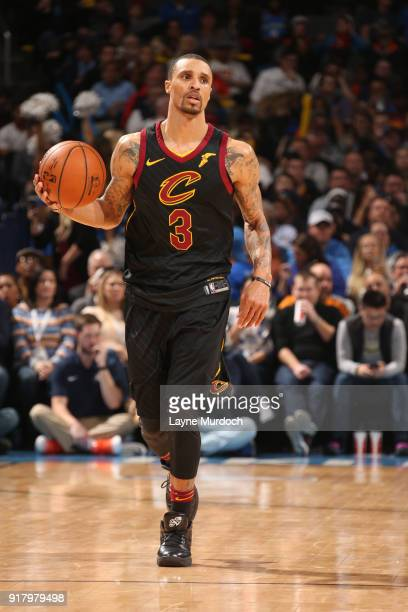 George Hill of the Cleveland Cavaliers handles the ball against the Oklahoma City Thunder on February 13 2018 at Chesapeake Energy Arena in Oklahoma...