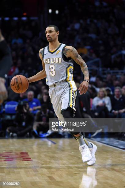 George Hill of the Cleveland Cavaliers handles the ball against the LA Clippers on March 8 2018 at STAPLES Center in Los Angeles California NOTE TO...