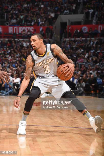 George Hill of the Cleveland Cavaliers handles the ball against the LA Clippers on March 9 2018 at STAPLES Center in Los Angeles California NOTE TO...
