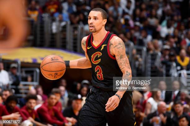 George Hill of the Cleveland Cavaliers handles the ball against the Los Angeles Lakers on March 11 2018 at STAPLES Center in Los Angeles California...