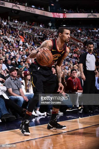 George Hill of the Cleveland Cavaliers handles the ball against the Phoenix Suns on March 13 2018 at Talking Stick Resort Arena in Phoenix Arizona...