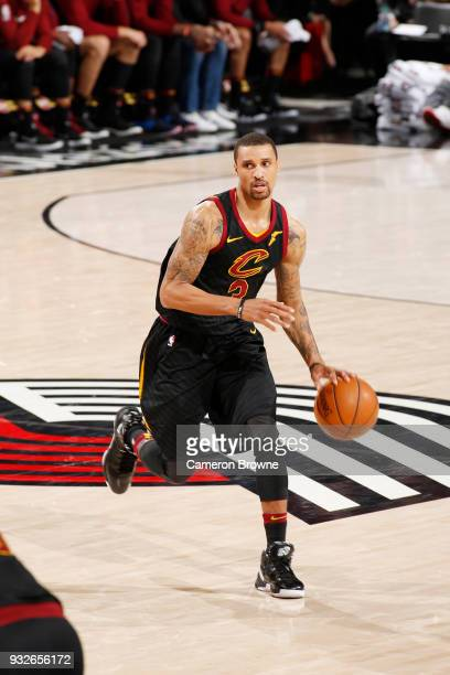 George Hill of the Cleveland Cavaliers handles the ball against the Portland Trail Blazers on March 15 2018 at the Moda Center in Portland Oregon...