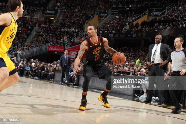 George Hill of the Cleveland Cavaliers handles the ball against the Indiana Pacers in Game Seven of Round One of the 2018 NBA Playoffs on April 29...