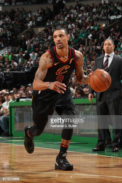 George Hill of the Cleveland Cavaliers handles the ball during the game against the Boston Celtics on February 11 2018 at TD Garden in Boston...