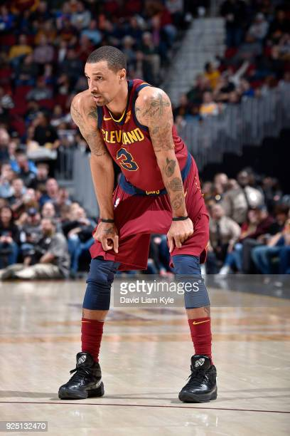 George Hill of the Cleveland Cavaliers looks on during the game against the Brooklyn Nets on February 27 2018 at Quicken Loans Arena in Cleveland...