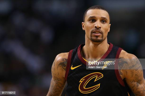 George Hill of the Cleveland Cavaliers looks on in the second half during a game against the Boston Celtics at TD Garden on February 11 2018 in...