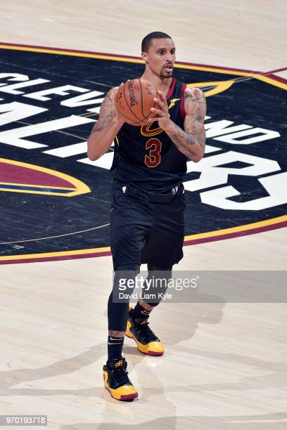OH George Hill of the Cleveland Cavaliers looks to pass the ball during the game against the Golden State Warriors in Game Four of the 2018 NBA...