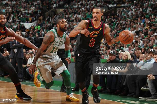 George Hill of the Cleveland Cavaliers passes the ball during the game against the Boston Celtics on February 11 2018 at TD Garden in Boston...