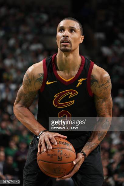 George Hill of the Cleveland Cavaliers shoots a free throw during the game against the Boston Celtics on February 11 2018 at TD Garden in Boston...