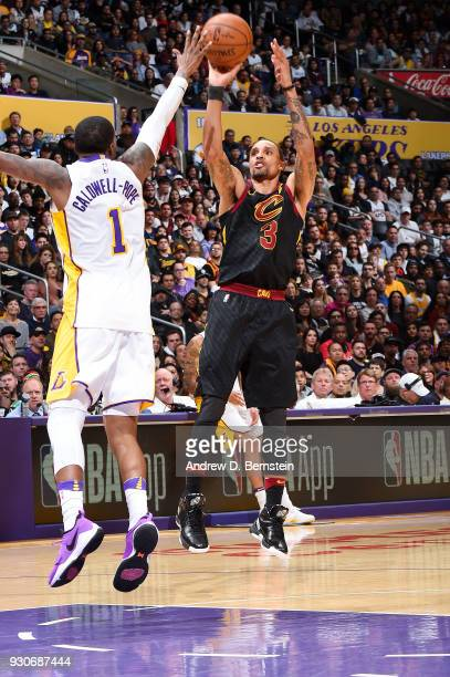 George Hill of the Cleveland Cavaliers shoots the ball against the Los Angeles Lakers on March 11 2018 at STAPLES Center in Los Angeles California...
