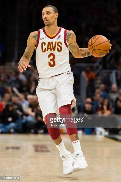 George Hill of the Cleveland Cavaliers takes the ball down court against the Detroit Pistons during the second half at Quicken Loans Arena on March 5...