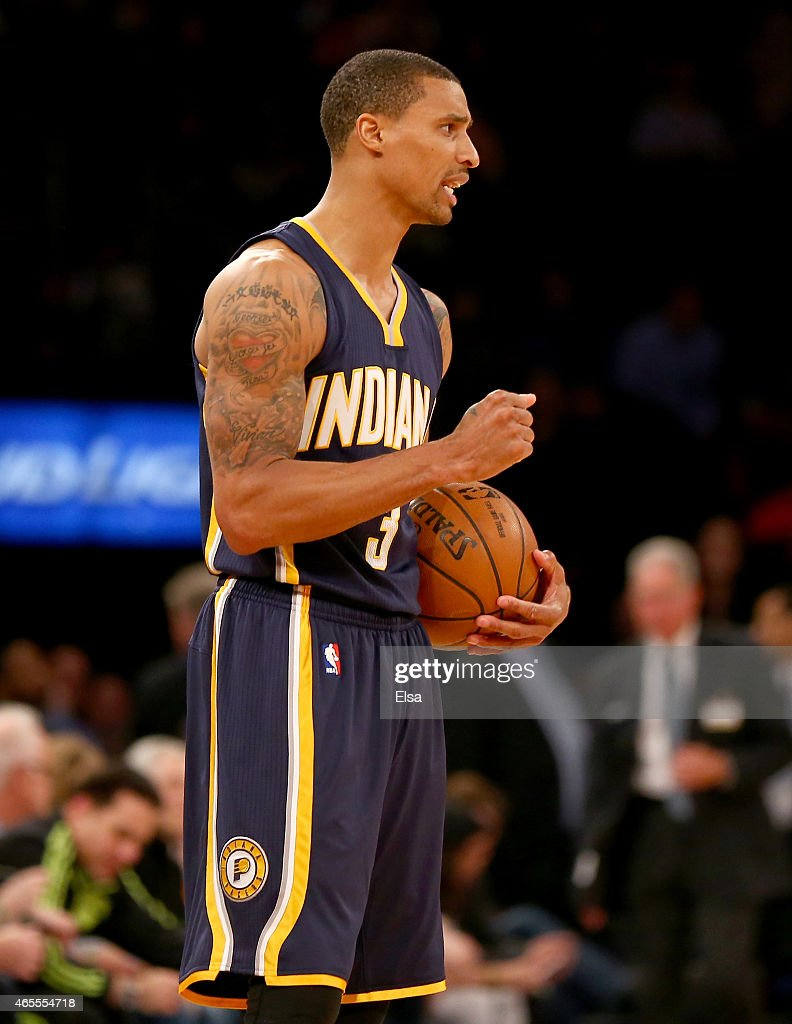 George Hill #3 of the Indiana Pacers celebrates the win over the New York Knicks at Madison Square Garden on March 7, 2015 in New York City.The Indiana Pacers defeated the New York Knicks 92-86.NOTE