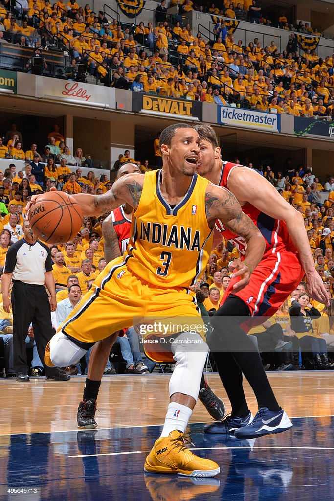 George Hill #3 of the Indiana Pacers drives to the basket against the Atlanta Hawks in Game Seven of the Eastern Conference Quarterfinals during the 2014 NBA Playoffs on May 3, 2014 at Bankers Life Fieldhouse in Indianapolis, Indiana.