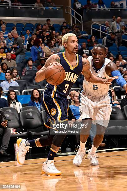 George Hill of the Indiana Pacers handles the ball during the game against the Orlando Magic on January 6 2016 at Amway Center in Orlando Florida...