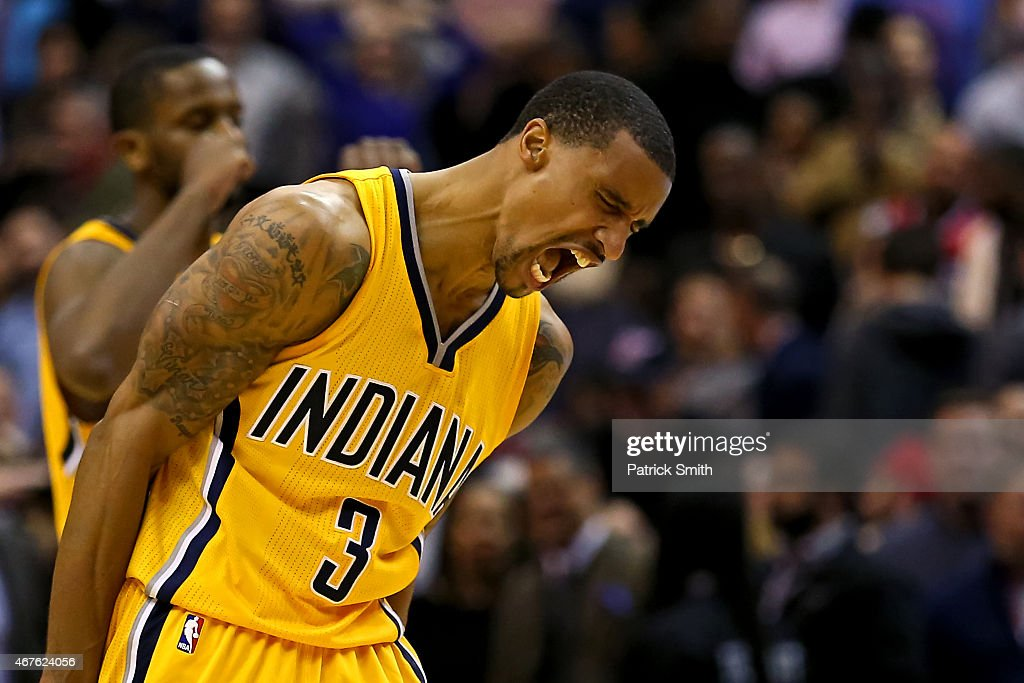 George Hill #3 of the Indiana Pacers reacts after defeating the Washington Wizards at Verizon Center on March 25, 2015 in Washington, DC. The Indiana Pacers won, 103-101.
