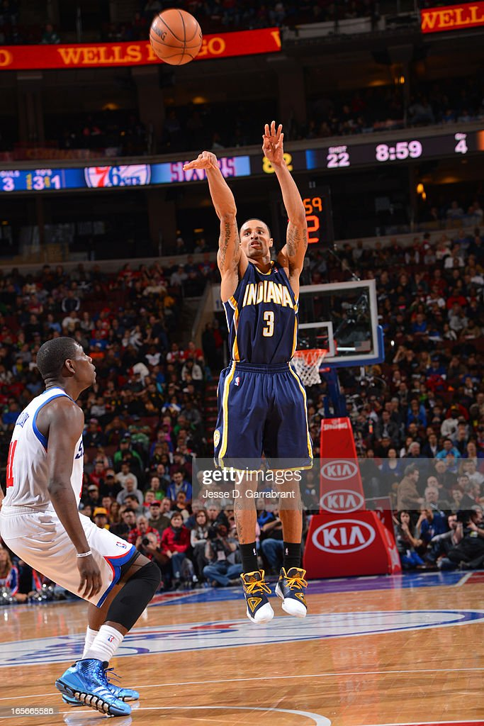 George Hill #3 of the Indiana Pacers takes a shot against the Philadelphia 76ers at the Wells Fargo Center on March 16, 2013 in Philadelphia, Pennsylvania.