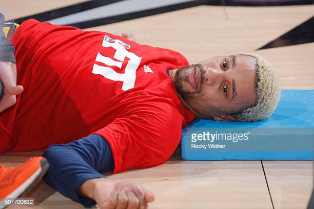 George Hill of the Indiana Pacers warms up prior to the game against the Sacramento Kings on January 23 2016 at Sleep Train Arena in Sacramento...