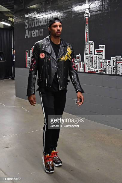 George Hill of the Milwaukee Bucks arrives to the arena prior to Game Four of the Eastern Conference Finals of the 2019 NBA Playoffs against the...