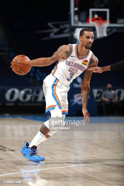 George Hill of the Oklahoma City Thunder handles the ball during the game against the Chicago Bulls on January 15, 2021 at Chesapeake Energy Arena in...