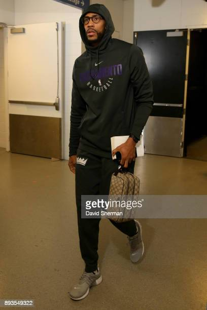 George Hill of the Sacramento Kings arrives at the stadium before the game against the Minnesota Timberwolves on December 14 2017 at Target Center in...