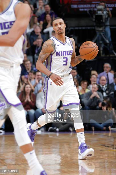 George Hill of the Sacramento Kings brings the ball up the court against the Los Angeles Clippers on November 25 2017 at Golden 1 Center in...