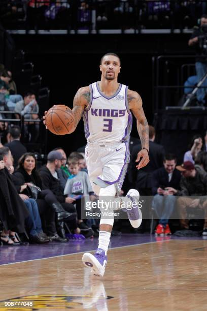George Hill of the Sacramento Kings brings the ball up the court against the Utah Jazz on January 17 2018 at Golden 1 Center in Sacramento California...