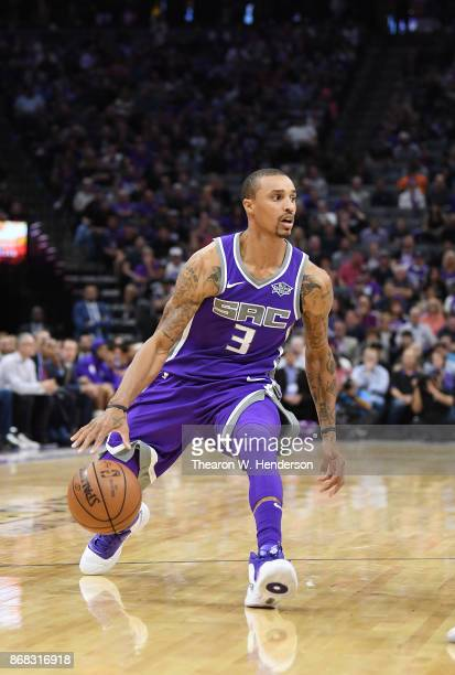 George Hill of the Sacramento Kings dribbles the ball against the New Orleans Pelicans during an NBA basketball game at Golden 1 Center on October 26...