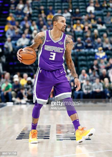 George Hill of the Sacramento Kings dribbles the ball against the Indiana Pacers at Bankers Life Fieldhouse on October 31 2017 in Indianapolis...