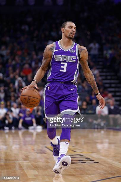 George Hill of the Sacramento Kings dribbles the ball up court against the 'nMemphis Grizzlies at Golden 1 Center on December 31 2017 in Sacramento...