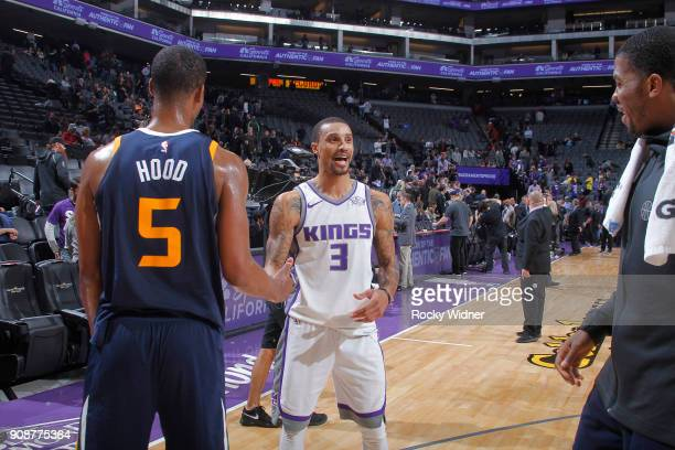 George Hill of the Sacramento Kings greets Rodney Hood of the Utah Jazz after the game on January 17 2018 at Golden 1 Center in Sacramento California...