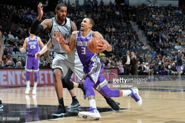 George Hill of the Sacramento Kings handles the ball against the San Antonio Spurs on January 28 2018 at the ATT Center in San Antonio Texas NOTE TO...