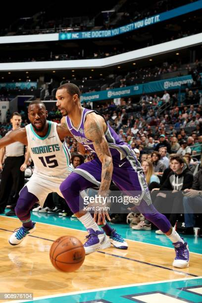 George Hill of the Sacramento Kings handles the ball during the game against the Charlotte Hornets on January 22 2018 at Spectrum Center in Charlotte...
