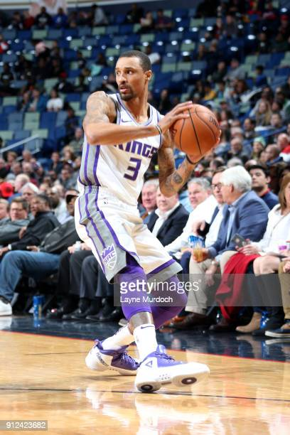 George Hill of the Sacramento Kings handles the ball during the game against the New Orleans Pelicans on January 30 2018 at the Smoothie King Center...