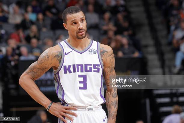 George Hill of the Sacramento Kings looks on during the game against the Utah Jazz on January 17 2018 at Golden 1 Center in Sacramento California...