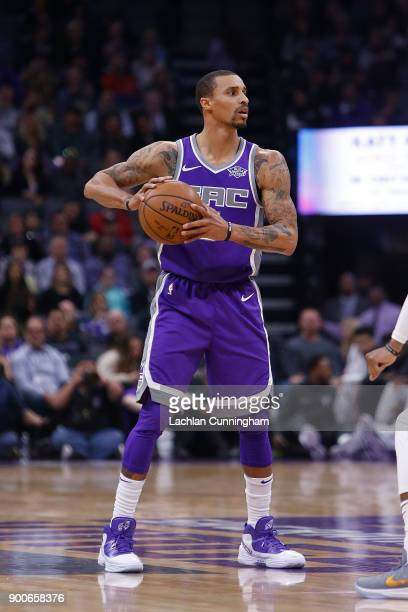 George Hill of the Sacramento Kings looks to pass the ball against the Memphis Grizzlies at Golden 1 Center on December 31 2017 in Sacramento...