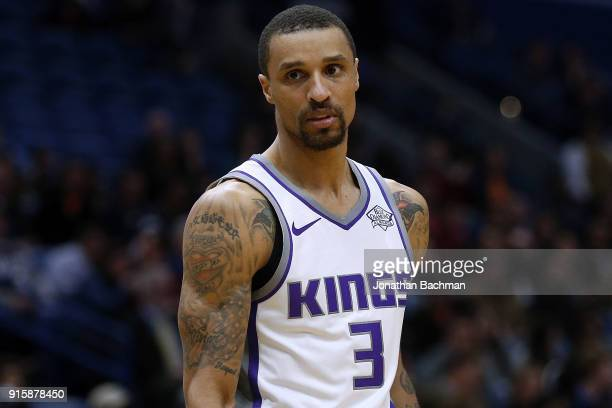 George Hill of the Sacramento Kings reacts during the first half against the New Orleans Pelicans at the Smoothie King Center on January 30 2018 in...