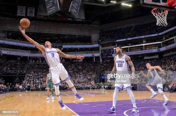 George Hill of the Sacramento Kings rebounds against the Milwaukee Bucks on November 28 2017 at Golden 1 Center in Sacramento California NOTE TO USER...