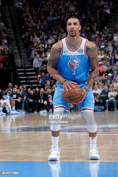 George Hill of the Sacramento Kings shoots a free throw against the Chicago Bulls on February 5 2018 at Golden 1 Center in Sacramento California NOTE...