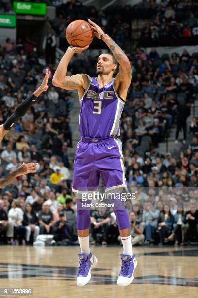 George Hill of the Sacramento Kings shoots the ball against the San Antonio Spurs on January 28 2018 at the ATT Center in San Antonio Texas NOTE TO...